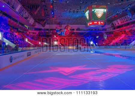 MOSCOW - MARCH 19, 2015: Sports palace CSKA during the hockey game Yokerit vs CSKA on Russia KHL championship in the sports complex CSKA Moscow, Russia. CSKA won 4: 2