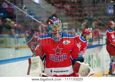 MOSCOW - MARCH 19, 2015: Kevin Lalande (35) in action on hockey game Yokerit vs CSKA on Russia KHL championship in the sports complex CSKA Moscow, Russia. CSKA won 4: 2