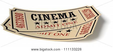 Pair Of Retro Vintage Cinema Tickets With Shadow