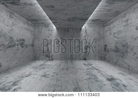 Empty Room With Concrete Walls And Lights In Ceiling