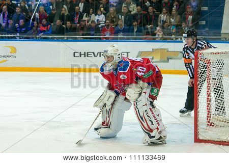 MOSCOW - MARCH 19, 2015: Stanislav Galimov (40) in action on hockey game Yokerit vs CSKA on Russia KHL championship in the sports complex CSKA Moscow, Russia. CSKA won 4: 2
