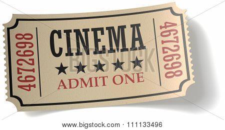 Retro Cinema Ticket With Shadow