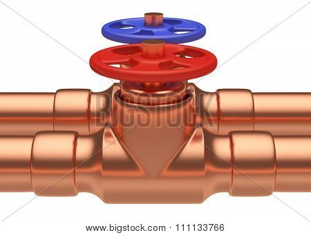 Red And Blue Valves On Copper Pipes Closeup