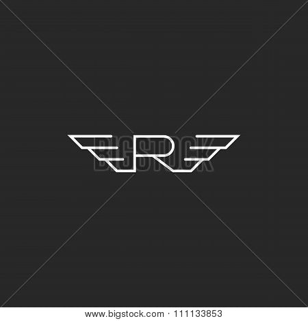 Monogra Letter R Logo Wings, Flying Abstract Business Card Emblem, Fast Decorative Design Element