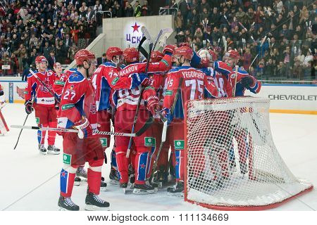 MOSCOW - MARCH 19, 2015: Hockey players CSKA rejoice the victory in the hockey game Yokerit vs CSKA on Russia KHL championship in the sports complex CSKA Moscow, Russia. CSKA won 4: 2
