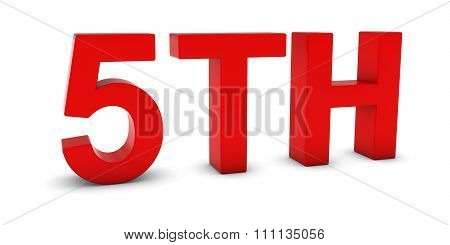 5Th - Red 3D Fifth Text Isolated On White