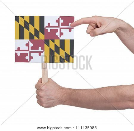 Hand Holding Small Card - Flag Of Maryland