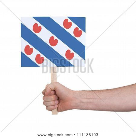 Hand Holding Small Card - Flag Of Friesland