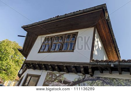 Razgrad town, street and house. Old house in revival quarter Varosha, Razgrad