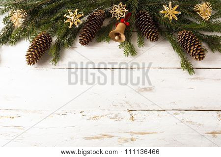 Christmas Background Wooden Jingle Bell