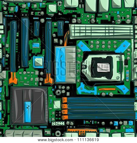 Hand drawn motherboard seamless pattern