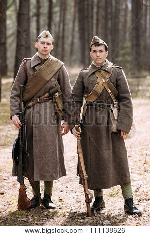 Two unidentified re-enactors dressed as Russian Soviet soldiers