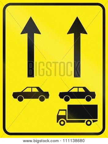 Slovenian Road Sign - Traffic Lanes Segregated By Vehicle Class