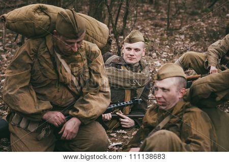 Group of unidentified re-enactors dressed as Soviet soldiers in