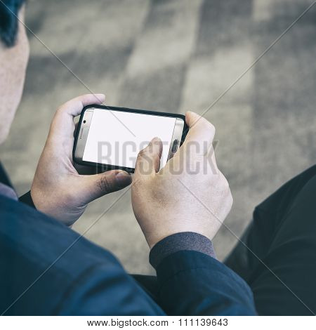Business Man Using Smart Phone With Mock Up Blank Screen Social Media