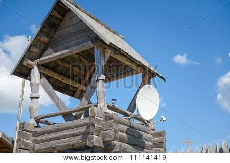 Old Wooden Watch-tower With Modern Means Of Tracking
