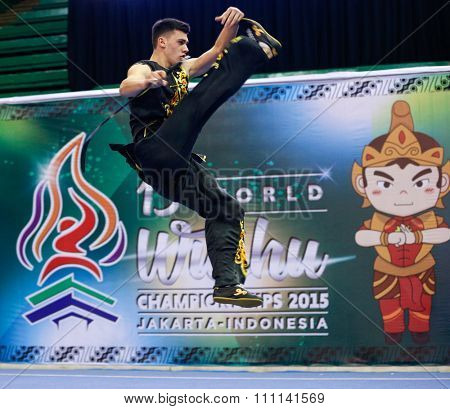 JAKARTA, INDONESIA - NOVEMBER 16, 2015: Andrii Fehetsyn of Ukraine performs the movements in the Men's Nandao event at the 13th World Wushu Championship 2015 at the Istora Senayan Stadium, Jakarta.