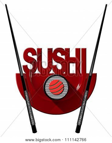Sushi - Symbol With Plate And Chopsticks