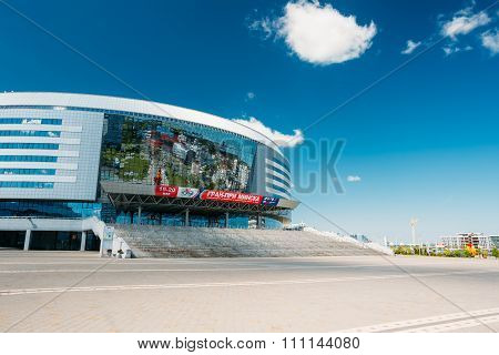 The building of the sports complex Minsk Arena in Minsk, Belarus