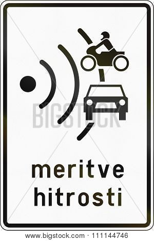 Slovenian Road Sign With The Words: Speed Trap