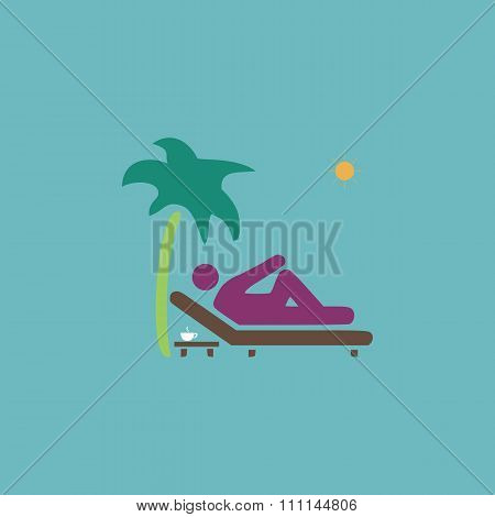 Man relaxing on a deck chair under palm tree