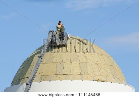 Workers Prepare To Install A Roof On The Dome Of The Reconstructed Church Of The Kazan Mother Of God