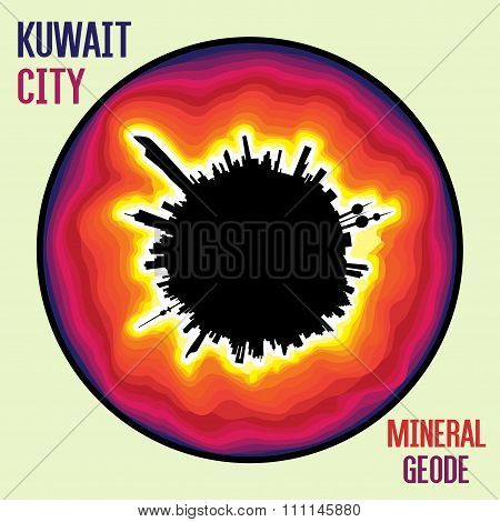 Oil Rich Kuwait City As A Mineral Geode With A Black Petrol Core