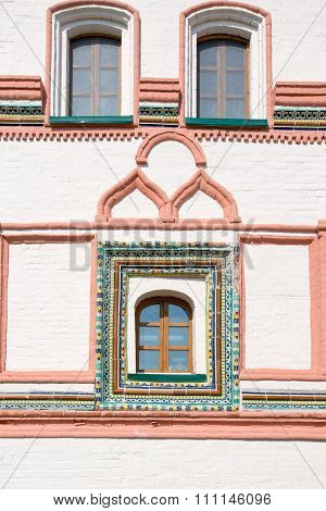 Decorative Window Trim In The Valdai Iver Svyatoozersky Virgin Monastery.