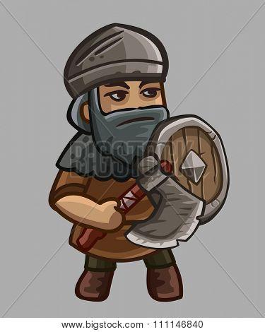 Warrior cartoon character. Vector illustration