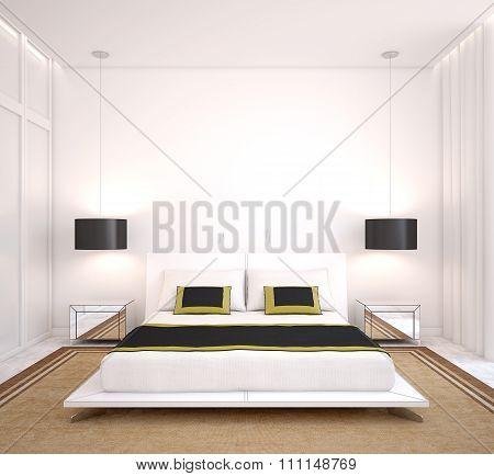 Modern Bedroom. 3d render.
