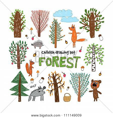 Trees and animals in the forest