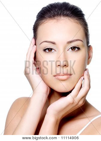 Woman Stroking Her Clean Face