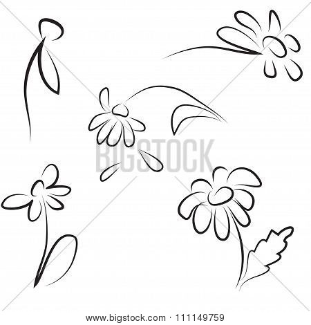 Hand Contour Simple Drawing Of Daisies