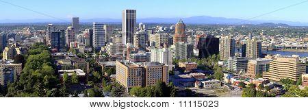 Una vista panorámica de Portland, Oregon.