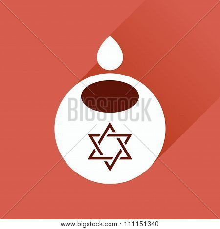 Flat icon with long shadow Jewish candle