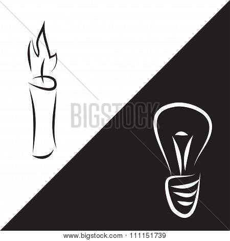 Contour Lines Of Candle And Lamp