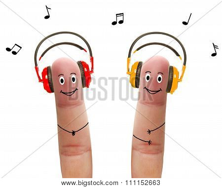 Happy Fingers In Headphones