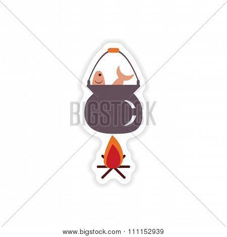 stylish paper sticker on white background fish soup fire