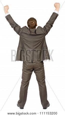 Businessman in winner posture
