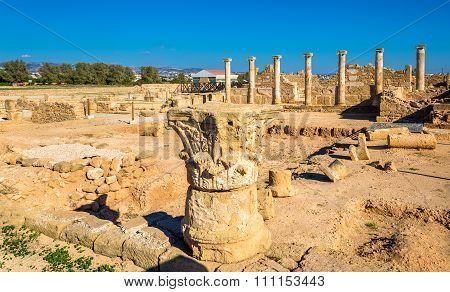 Roman Columns In Paphos Archaeological Park - Cyprus