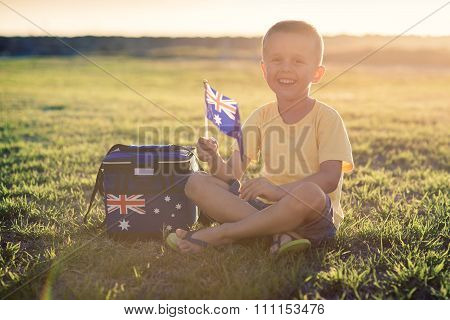 Cute Smiling Kid With Flag Of Australia