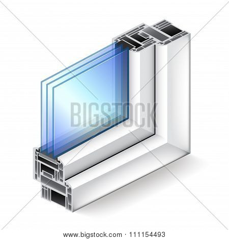 Plastic Window In Cut Isolated On White Vector