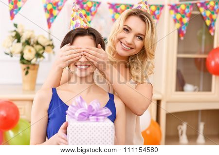 Girls having fun during birthday celebration.