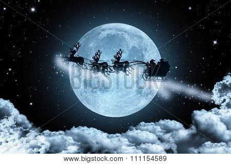Abstact Background Santa Claus Flying Cross The Full Moon