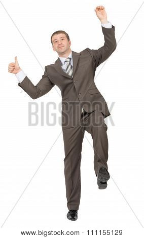 Businessman standing on one leg, white background