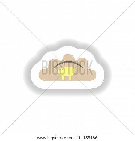 stylish paper sticker Ukrainian dumplings with pork