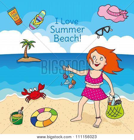 Girl enjoying the beach