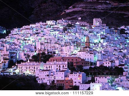 Competa white village at night.