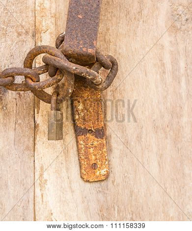 Old Steel Chain With Padlock