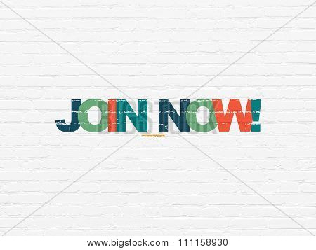 Social network concept: Join now on wall background
